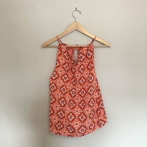Blue Orange Tile Amelia Bow Neck Tank